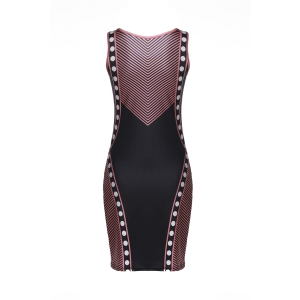Stylish Sleeveless Color Block Bodycon Splicing Dress For Women