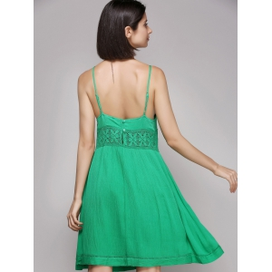 Chic Women's Laced Plunging Neck Sleeveless Dress - GREEN L
