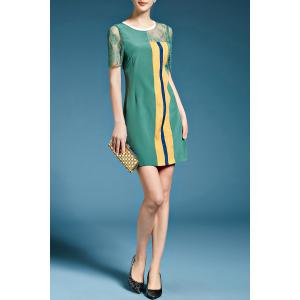 Vertical Stripe Lace Inset Silk Dress -