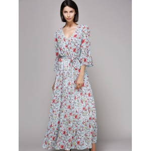 Bell Sleeve Maxi Floral Beach Swing Dress - Light Blue - M