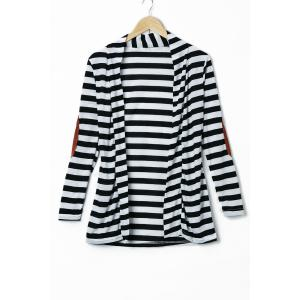 Stylish Long Sleeve Striped Slimming Blouse For Women - Stripe - L