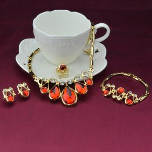 A Suit of Retro Style Faux Ruby Statement Necklace Bracelet Ring Earrings -
