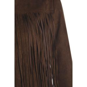 Stylish Round Neck Long Sleeve Solid Color Fringed Women's Jacket -