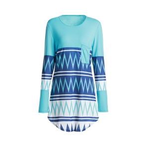 Stylish Scoop Neck Zig Zag Print Long Sleeve T-Shirt For Women - Colormix - Xl