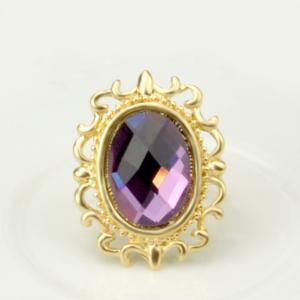 A Suit of Vintage Style Oval Amethyst Necklace Bracelet Ring Earrings -