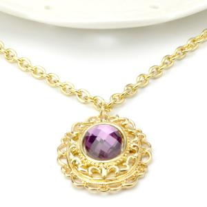 A Suit of Vintage Style Oval Amethyst Necklace Bracelet Ring Earrings - PURPLE