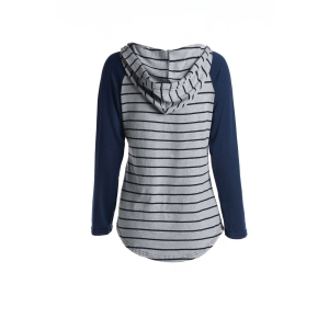 Chic Hooded Long Sleeve Striped Pocket Design Women's Hoodie -