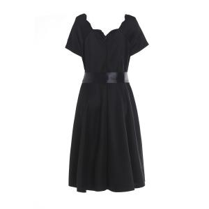 Short Sleeve Prom Ball Gown Dress - BLACK M