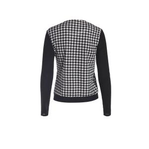 Elegant Scoop Neck Color Block Houndstooth Printed Coat For Women - WHITE AND BLACK S