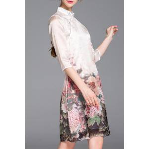 Mandarin Collar Flower Printed Cheongsam Dress -