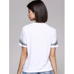 Chic Women's Butterfly Print Short Sleeve Round Neck T-Shirt - WHITE L