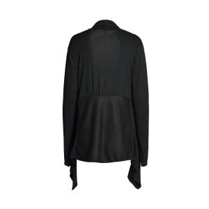 Chic Turn-Down Neck Long Sleeve Pure Color Women's Cardigan - BLACK S