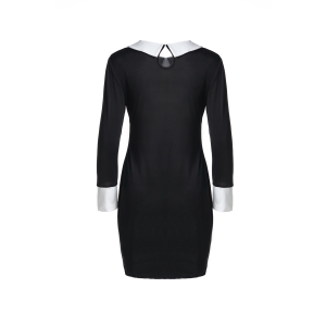 Fashion Flat Collar 3/4 Sleeve Hit Color Women's Dress - BLACK M