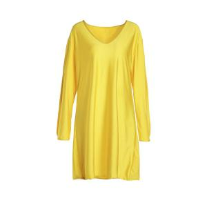 Stylish V-Neck Split Sleeve Solid Color Dress For Women