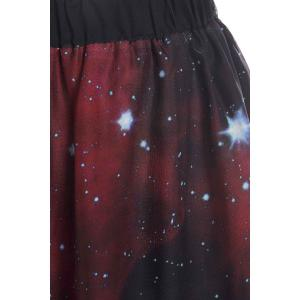 Stylish Elastic Waist Galaxy Printed Asymmetrical Chiffon Skirt -