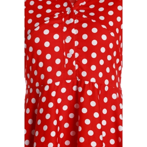 Vintage Polka Dot Printed V-Neck Flare Midi Dress For Women -