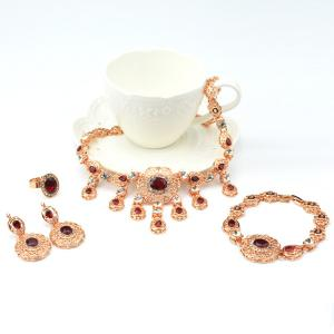 A Suit of Hollow Out Faux Ruby Pendant Necklace Bracelet Ring Earrings -
