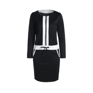 Fashion Long Sleeve Color Block Drawstring Women's Bodycon Dress