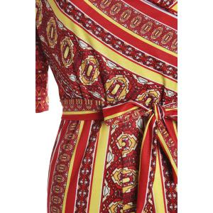 Sexy Plunging Neck Printed Half Sleeve Jumpsuit For Women -