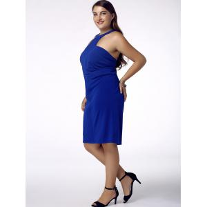 Stylish Plus Size Racerfront Backless Sheath Dress For Women - BLUE 4XL