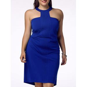 Stylish Plus Size Racerfront Backless Sheath Dress For Women - Blue - 4xl