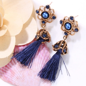 Pair of Vintage Rhinestone Embellished Tassel Earrings - BLUE