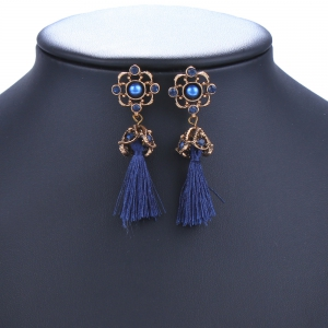 Pair of Vintage Rhinestone Embellished Tassel Earrings -