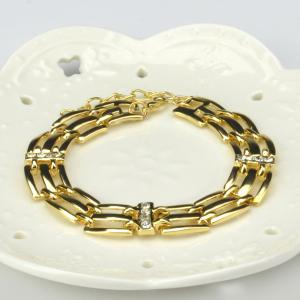 A Suit of Stunning Geometric Openwork Necklace Bracelet Ring Earrings - GOLDEN