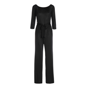 Sexy Off-The-Shoulder Long Sleeve Solid Color Wide Leg Women's Jumpsuit