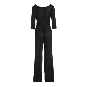 Sexy Off-The-Shoulder Long Sleeve Solid Color Wide Leg Women's Jumpsuit -