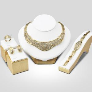 A Suit of Fashion Rhinestone Hollow Out Necklace Bracelet Ring Earrings - Golden - One-size