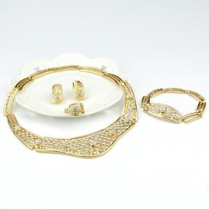 A Suit of Fashion Rhinestone Hollow Out Necklace Bracelet Ring Earrings - GOLDEN