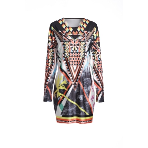Vintage Geometric Printed Long Sleeve Bodycon Dress - Colormix - S