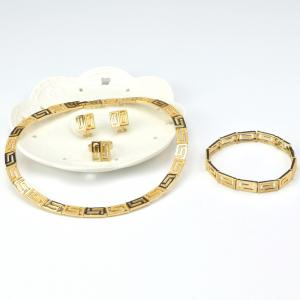 A Suit of Gold Plated Geometric Necklace Bracelet Ring Earrings - GOLDEN