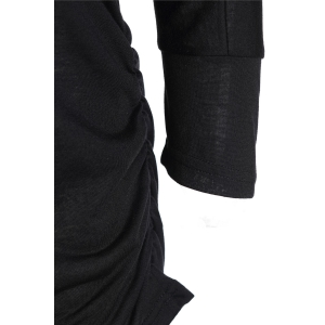 Casual Solid Color Long Bodycon Pleated Knitwear For Women - BLACK M