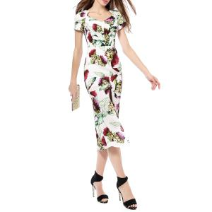 Front Slit Floral Print Mermaid Dress -
