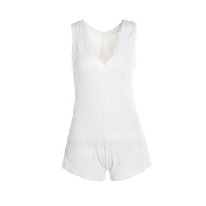 Refreshing White Backless Sleeveless Knitted Romper For Women