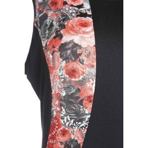 Charming Red Floral Printed Sleeveless Bodycon Mini Dress For Women - RED 3XL