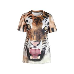 Stylish Round Neck Short Sleeve Tiger Print T-Shirt For Women