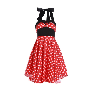 Vintage Halterneck Polka Dot Print A-Line Dress For Women