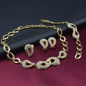 Bowknot Hollow Out Rhinestone Necklace Bracelet Ring Earrings -