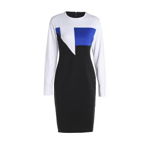 Sexy Round Neck Long Sleeve Hit Color Bodycon Women's Dress