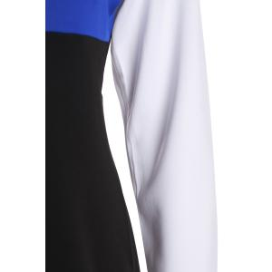 Sexy Round Neck Long Sleeve Hit Color Bodycon Women's Dress - BLUE M
