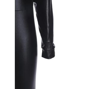 Sexy Scoop Neck Black PU Leather Long Sleeve Jumpsuit For Women -
