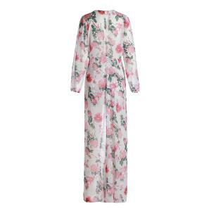 Stylish Plunging Neck High Waist Floral Printed High Low Romper For Women - WHITE 2XL
