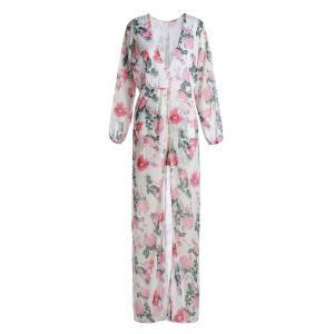 Stylish Plunging Neck High Waist Floral Printed High Low Romper For Women
