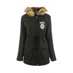 Hooded Parka Drawstring Design Embroidered Fleece Coat For Women - Black - 2xl