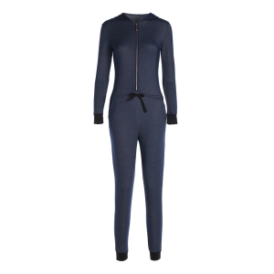 Sexy Hooded Zippered Solid Color Waist Drawstring Denim Jumpsuit For Women