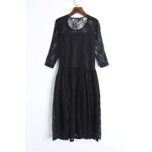 Elegant Jewel Neck Half Sleeve Solid Color Pleated Lace Dress For Women -
