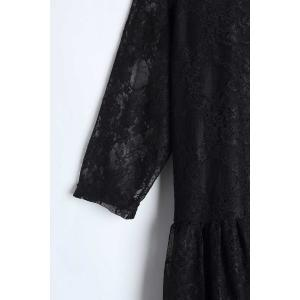 Elegant Jewel Neck Half Sleeve Solid Color Pleated Lace Dress For Women - BLACK 3XL